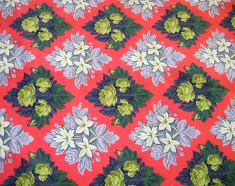 Vintage Heavy weight cotton fabric, red, leaves, Edelweis fowers, roses, diamonds