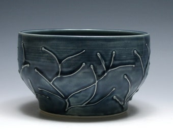 Denim Blue Bowl with Raised Branches