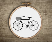 hipster cross stitch pattern ++ retro modern basket bike ++ classic bicycle ++ pdf INsTAnT DOwNLoAD ++ diy hipster ++ handmade design