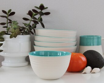 Turquoise Porcelain Bowl, Modern Ceramic Prep Bowl
