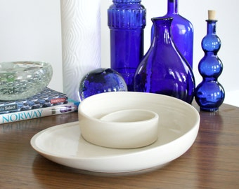 Porcelain Serving Dish - Sculptural Ceramic Whirl Serving Plate - Discounted Second