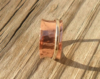 Spinner Ring Copper Silver , SRA Handmade Size 5 1/4