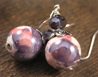 Purple, pink and white ceramic beads, swarovski crystal and silver handmade earrings