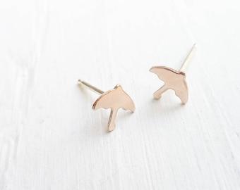 Gold Umbrella Stud Earrings Tiny Gold Studs Unique Shape