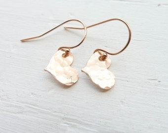 Rose Gold Heart Earring Goldfilled Jewelry Dainty Dangle Hammered or Shiny Tiny Heart Earings Small Sideways Heart Charms