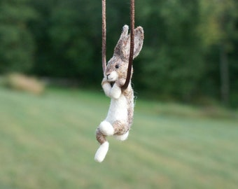 Tiny Needle Felted Rabbit Necklace or Sculpture