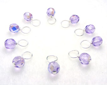 Lavender Water Droplet Stitch Markers for Knitting (Choose Your Size - Set of 10)