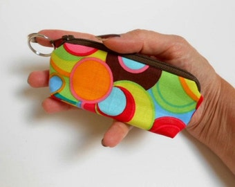 Mini Key Ring Zipper Pouch ECO Friendly Padded Lip Balm Case NEW Inspiration Circles