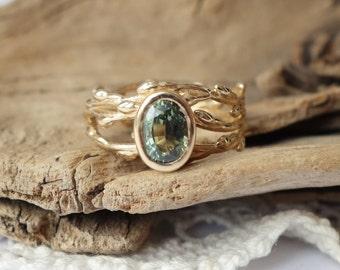 Green Sapphire Wreath Ring