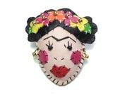 Leather Frida Kahlo Brooch