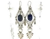 70s Tribal Dangle Earrings / Vintage 1970 Gypsy Wire & Lapis Lazuli Earrings / Pierced Hippie Earrings / Silver / Gemstone Fringe Chandelier
