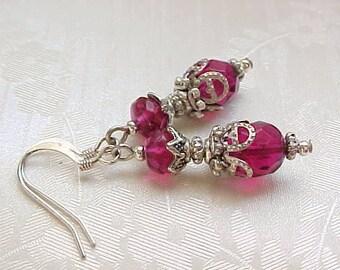 Fuchsia Earrings Hot Pink Earrings Silver Filigree Czech Glass Earrings Vintage Style Earrings Edwardian Earrings Victorian Earrings