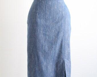 Vintage Blue Slub Pencil Skirt