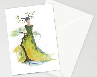 Greeting Card - ETERNITY - Trees Mountains Forest Lady Watercolor Art Painting