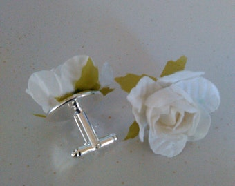 Fathers Day White Rosette Cuff Links