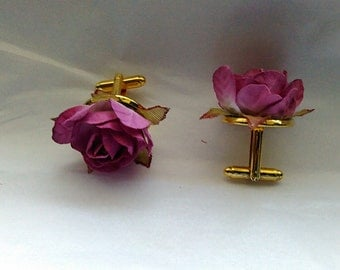Fathers Day Dusty rose rosette cuff links