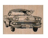 rubber stamp woman waving from classic car  lady number 9670 stamps stamping