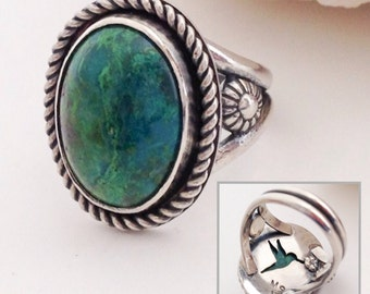 Green Hummingbird Ring, Size 7 1/4, Parrot Wing Chrysocolla Stone Ring, Artisan Handcrafted Sterling Silver Silversmith Bird Ring, Boho Chic