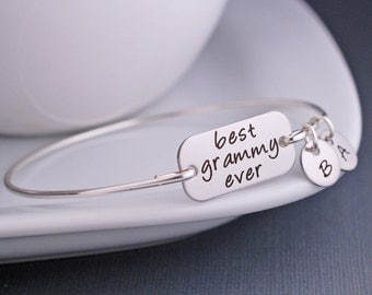 Best Grammy Ever Bangle Bracelet, Mother's Day Gift for Grammy, Silver Grammy Jewelry, Custom Engraved gift for grandma