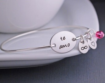 Te Amo Bracelet, Personalized Valentines Day Jewelry, Silver Infinity Bracelet, I love you in Spanish Bangle Bracelet