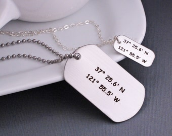Wedding Gift for Bride and Groom, Custom Coordinates Jewelry Set for Couple, Custom Dog Tag Necklaces