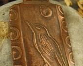 The Raven Pendant in Copper, Bird Crow Jewelry, Irish Celtic Jewelry, Moon, Necklace