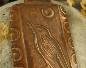 The Raven Pendant in Copper, Bird Crow Jewelry, Irish Celtic Jewelry, Moon, Necklace