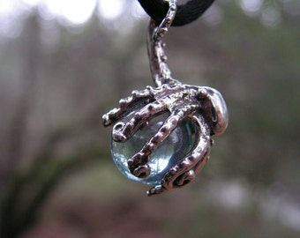 Sterling Silver Octopus Pendant With Aqua Aura
