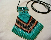 Native American Style loom beaded Tiny Amulet bag in Turquoise Green and Fire Colors