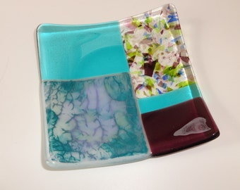 Blue and Purple Trinket Tray, Hand Painted Fused Glass Plate, Fused Glass Soap Dish, Glass Candy Dish, Blue and Purple Glass Soap Dish