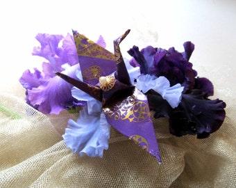 Prince Peace Crane Bird Origami Ornament Purple Paisley Park Gold