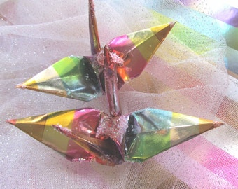 Rainbow Ombre Peace Crane Wedding Cake Topper Party Favor Origami Christmas Ornament Japanese Paper Bird Decoration LGBTQ