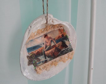 Decoupage Clam Shell Ornament/Mermaid/Holiday/Summer