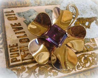 LARGE vintage flower brooch copper flower with amethyst rhinestone center