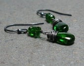 Chrome Diopside Earrings Emerald Green Dangle Oxidized Sterling Silver Earrings