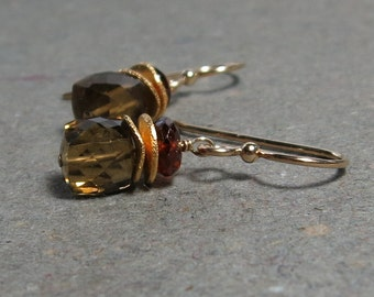 Gold Earrings Geometric Jewelry Whiskey Quartz Orange Garnet Earrings