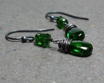 Chrome Diopside Earrings Green Dangle Earrings Oxidized Sterling Silver Earrings