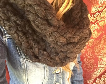 "Infinity Scarf, SUPER Chunky Hand Knit,  Tube Scarf, Neck Warmer- ""Black Pebbles"""
