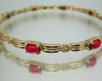 Brass Narrow Bangle Bracelet Flowers & Red Stones