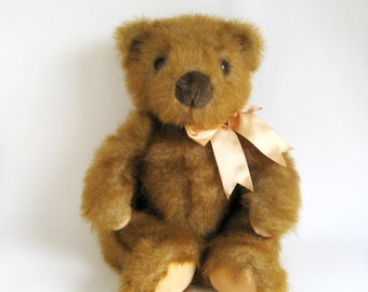 Vintage Ginger Teddy Bear Stuffed Animal TY Company 1990s Toy Brown Bear Classic Teddy Bear Gold Golden Kid's Toy Original Ribbon