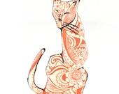 decorative pillow, cat pillow, animal pillow, cat shaped small pillow, kitty shaped pillow, orange paisley fabric