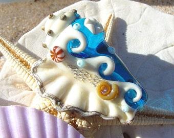 Dark Aqua Conch Shell Focal Bead - SRA Handmade Lampwork Bead