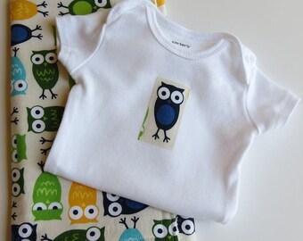 Baby Boy Owl Onesie Burp Cloth Gift Set Zoologie Owls