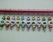 0 Thru 9 Number Multi-Colored Spectra Glass Stitch Markers - US 5 - Item No. 321