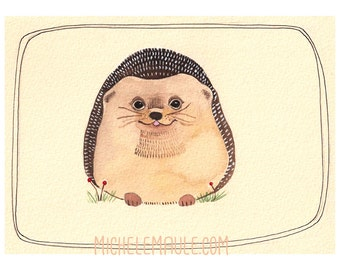 Art - Illustration - Hedgehog Print - Art Print - 8x10 Print - Animal Art - Hedgehog - Watercolor - Wall Art - Home Decor - Hedgehog