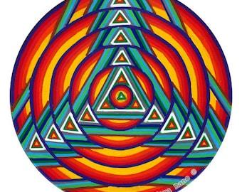 Cosmic Circle, Mandala, Bohemian, Sacred Geometry, Glass decor, Car decor, Meditation, Boho, Non-adhesive sticker, Eco-Friendly, Red, Sun