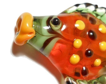 Orange & green fish, Lampwork glass bead with horizontal hole, handmade jewelry supplies,  focal, SRA art glass by Isinglass Design