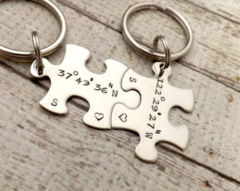 personalized keychain - Couples Keychains, GPS coordinates, puzzle keychains, wedding gift, personalized key chains, GPS jewelry-GPS keychai