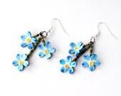 Forget-me-not earrings, bike inner tube earrings, for her, upcycled jewelry, upcycled earrings, painted earrings, summer, blue flowers #335