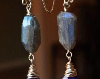 Blue Flash Labradorite Earrings, Lapis Lazuli Earrings, Sterling Silver Wire Wrapped Earrings, Gemstone Dangle Earrings, Faceted Gemstones